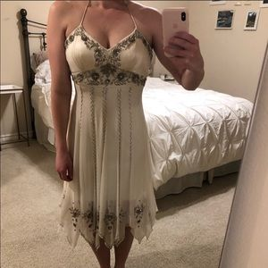 Cache off white silk beaded formal dress